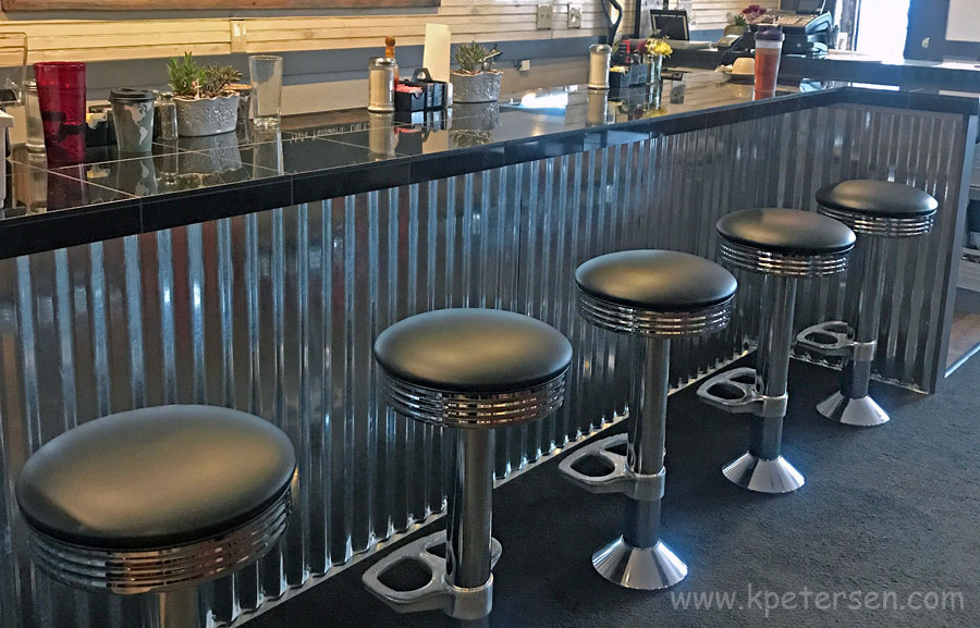 Soda Fountain Counter Stool With Round Chrome Ring Seat Installation