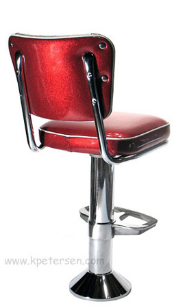 Soda Fountain Counter Stool Bolt Down With V Backrest
