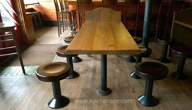 Wood Seat Bolt Down Soda Fountain Counter Stool