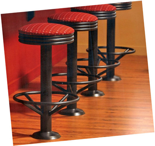 Tubular Steel Stacked Seat Soda Fountain Counter Stool