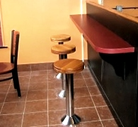 Soda Fountain stools with customer's own wood seats