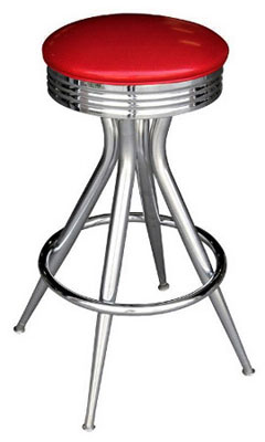 Retro Chrome Sputnik Bar Stool All Welded Frame Better Dead Than Red Vinyl Upholstery