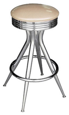 Retro Chrome Sputnik Bar Stool All Welded Frame Off White Russian Vinyl Upholstery