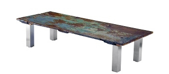 Coffee Table Height Stainless Steel Table Legs 3 Inch Square with Rustic Wood Table Top