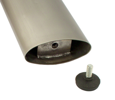 Elliptical Stainless Steel Table Leg Bottom Detail