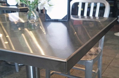Stainless Table Tops - Wrapped Edges & Welded Corners