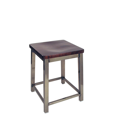 Backless Square Seat Angled Steel Stool Industrial Style