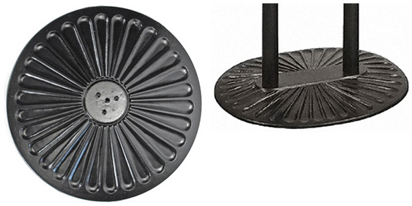 Ornate Cast Iron Sunbeam Radial Design Table Bases Available in 17, 22, 30 Inch Diameters and 30 X 36 Inch Two Column Support Styles
