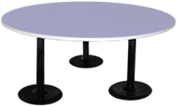 Three Restaurant Pedestal Style Table Bases Supporting Large Table Top