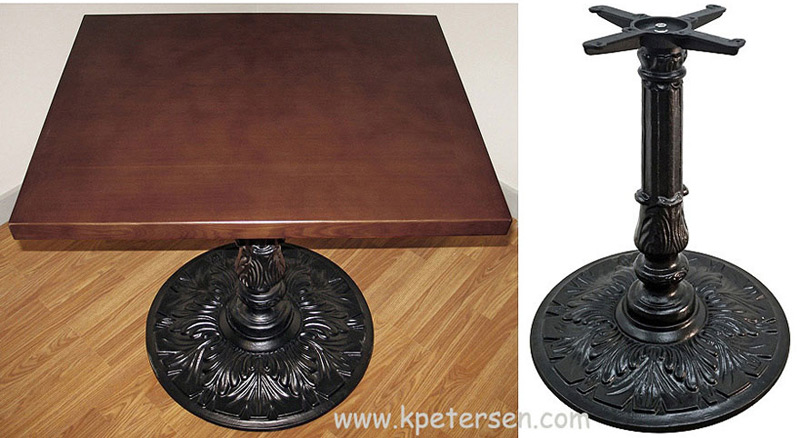 Victorian Style Antique Reproduction Large Round Ornate Cast Iron Table  Base Detail Photos