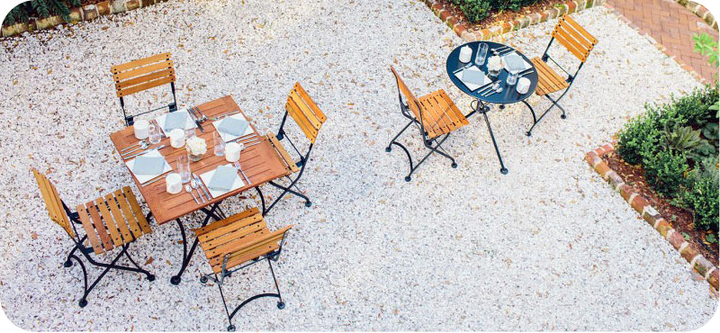 Teak Folding Bistro Chairs with Steel and Teak Tables Installation