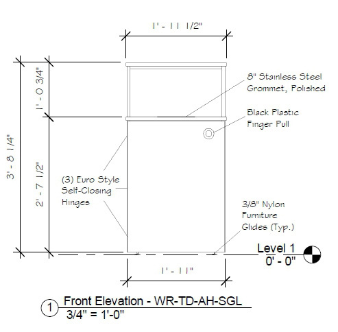 Top Drop Waste Receptacle Specifications Front Elevation Drawing