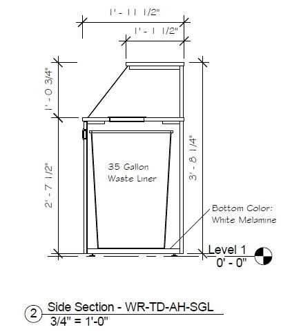 Top Drop Waste Receptacle Specifications Side Elevation Drawing