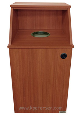 Economy Top Drop Waste Receptacle with Tray Shelf Front View