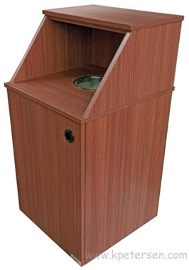 Economy Top Drop Waste Receptacle with Tray Shelf Side View