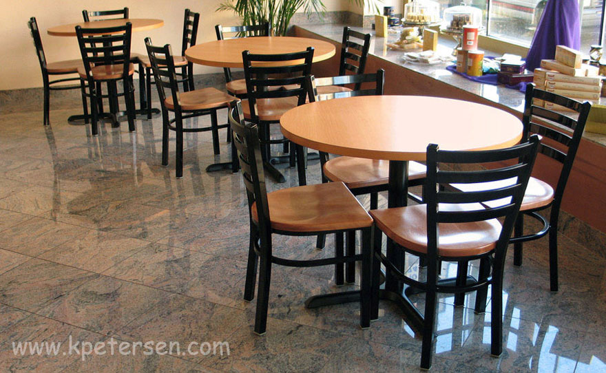 Trapezoid Steel Restaurant Chair with Wood Seat Installation