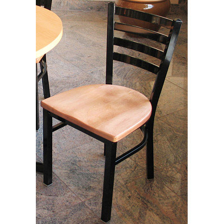 Trapezoid Steel Restaurant Chair with Wood Seat