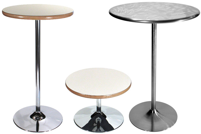 Trumpet Table Bases Coffee Table Height And Bar Height Chrome And Brushed  Chrome
