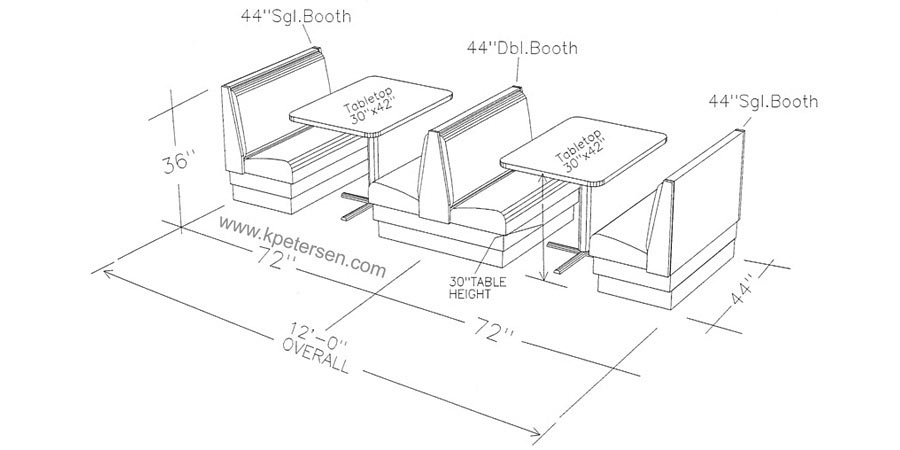 Typical Upholstered Booth Layout   Line Drawing Row Of Two Booths With  Tables