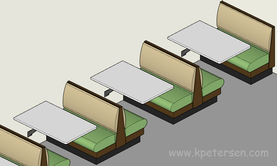 Upholstered Booth Layouts, Typical Booth Dimensions
