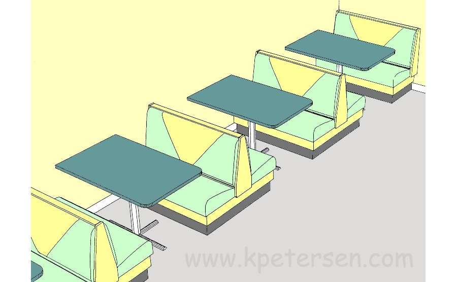 Upholstered Restaurant Booth Layouts and Typical Booth Dimensions