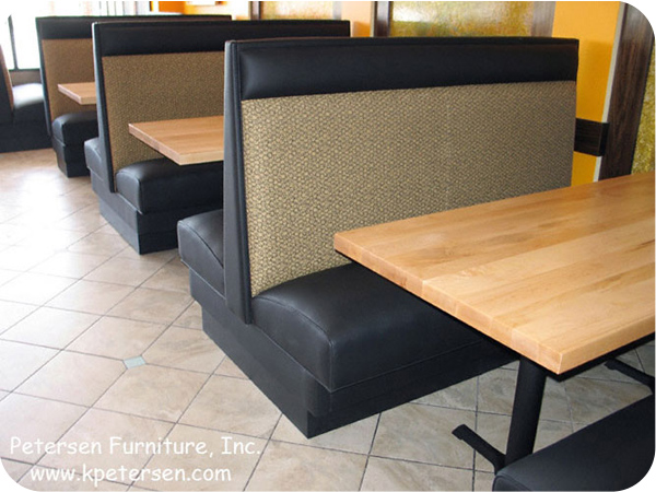 High Back Plain Restaurant Booth With Maple Tables