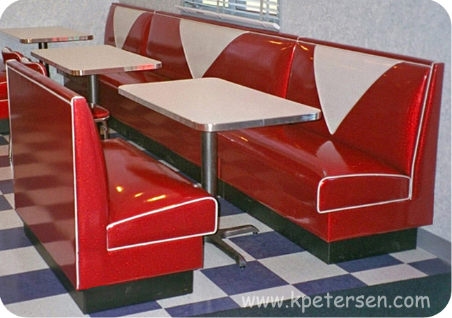 V Back Deluxe Upholstered Restaurant Booth Banquette Installation