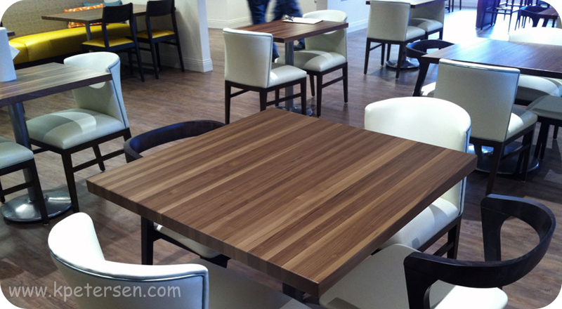 Walnut butcher block restaurant tables for Restaurant table menu