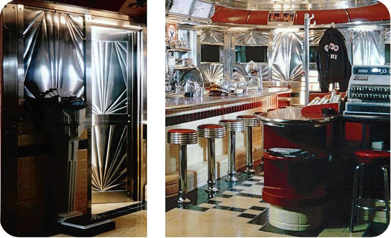 & American Diner In Wartime 3 - Embossed Stainless Steel Entry Door Detail
