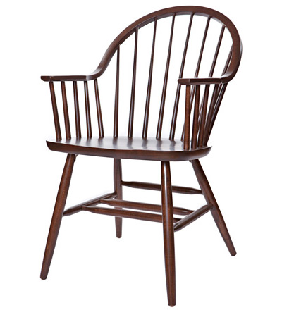 ... Early American, Windsor Style Wood Restaurant Dining Room Armchair Wood  Seat