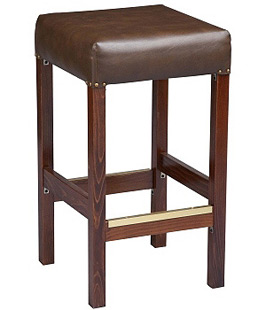 Backless Square Deluxe Upholstered Seat Wood Bar Stool
