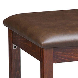 Backless Square Upholstered Seat Wood Bar Stool Detail