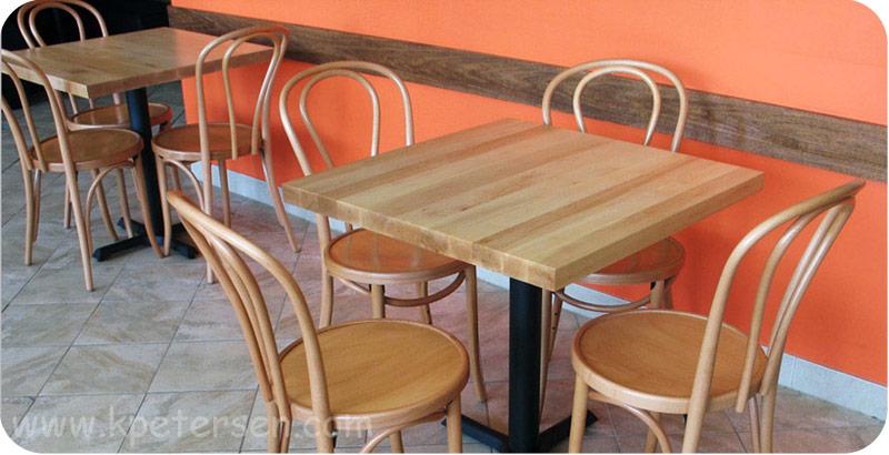 ... Wood Restaurant Tables Installation