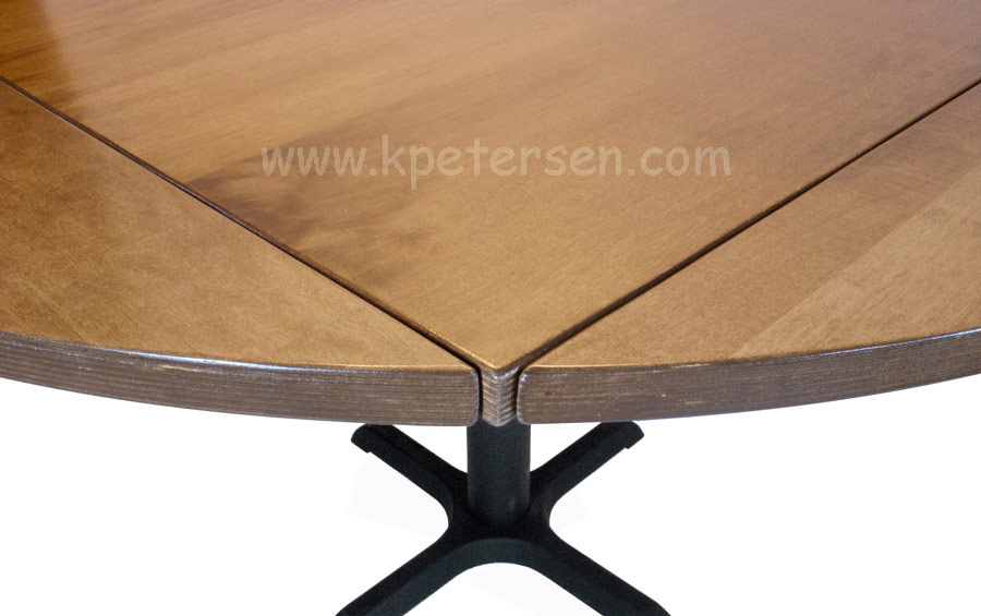 Wood Veneer Drop Leaf Restaurant Table Round Detail