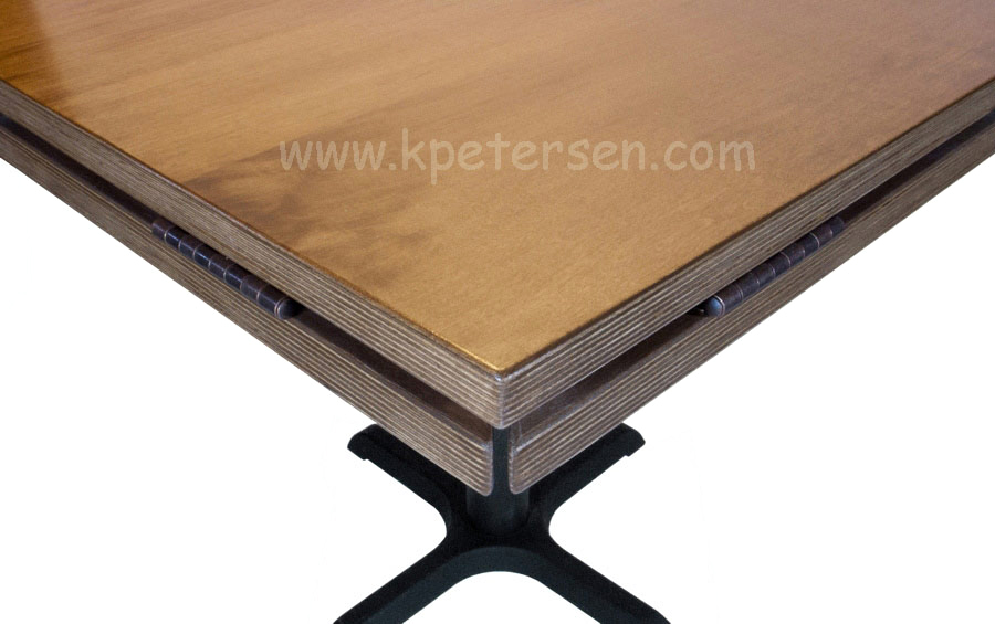 Wood Veneer Drop Leaf Restaurant Table Square Detail