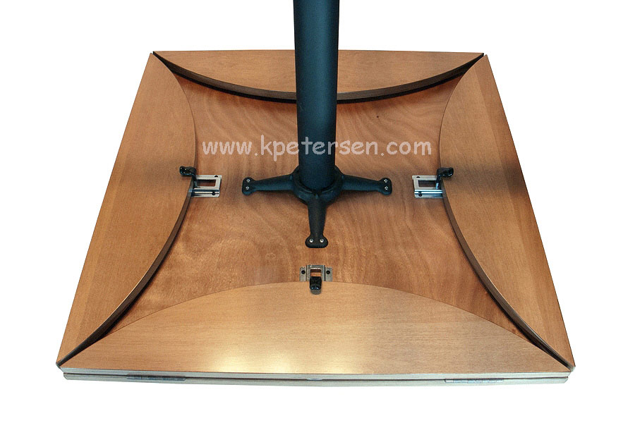 Wood Veneer Drop Leaf Restaurant Table Square Underside Detail